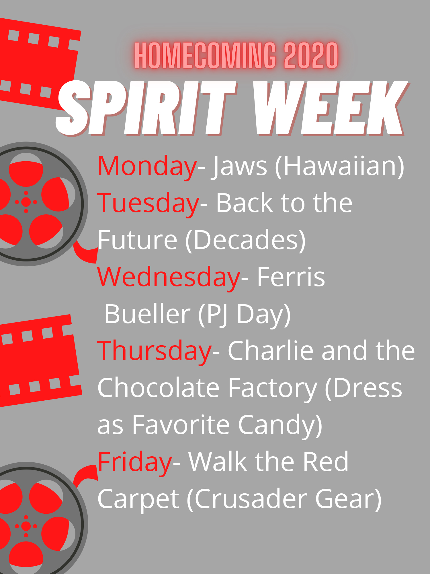 Spirit Week Menu Poster