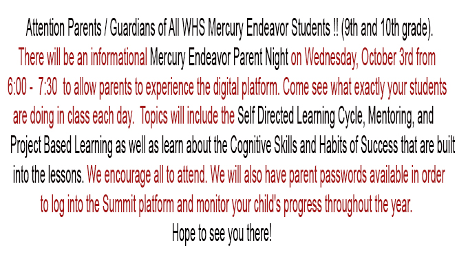 Parent Night October 3, 2018